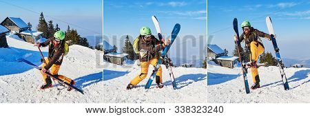 Clumsy Funny Skier Holding His Skis In Different, Wrong Positions - Composition. Location: Poiana Br