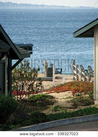 View Of Ocean On Monterey Bay Beach California