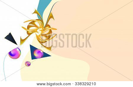 Minimal Background, Pastel Color Abstract Gold Multiacrylic Composition, Neurographic Imitation. Vec