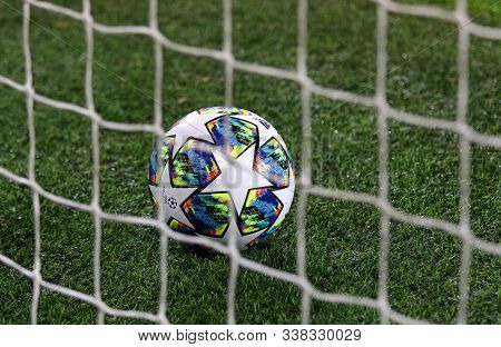 Prague, Czechia - October 23, 2019: Official Uefa Champions League Match Ball On The Grass During Th