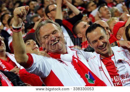 Prague, Czechia - October 23, 2019: Slavia Praha Supporters Enjoy The Uefa Champions League Game Aga