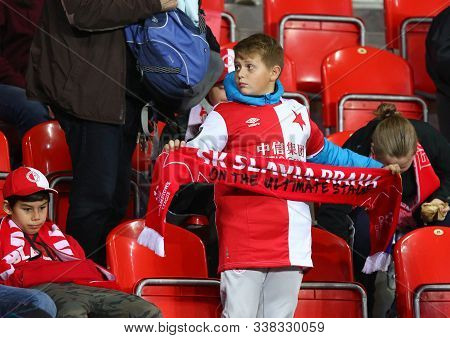Prague, Czechia - October 23, 2019: Young Slavia Praha Supporter Show His Support During The Uefa Ch