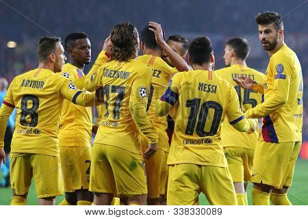 Prague, Czechia - October 23, 2019: Barcelona Players Celebrate After Scored A Goal During The Uefa
