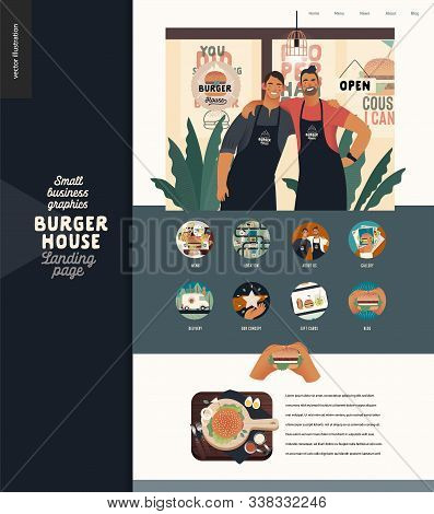 Burger House -small Business Graphics - Landing Page Design Template -modern Flat Vector Concept Ill