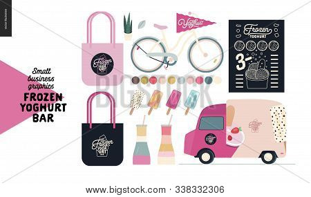 Frozen Yoghurt Bar - Small Business Graphics - Shop Elements -modern Flat Vector Concept Illustratio