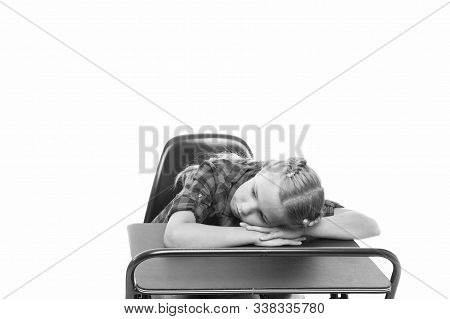 Boring Topic. Bored Pupils Riot. Fall Asleep On Lesson. Girl Sleep School Lesson White Background. S