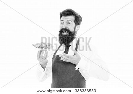 Hes Mean Cook. Bearded Man Present Dish. Professional Cook Isolated On White. Chef In Cook Apron. Fo