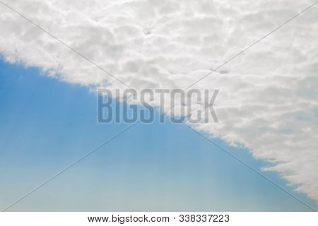 Beautiful Fluffy White Clouds Or Altocumulus In The Form Contrail Or Straight Line With Blue Sky, Na