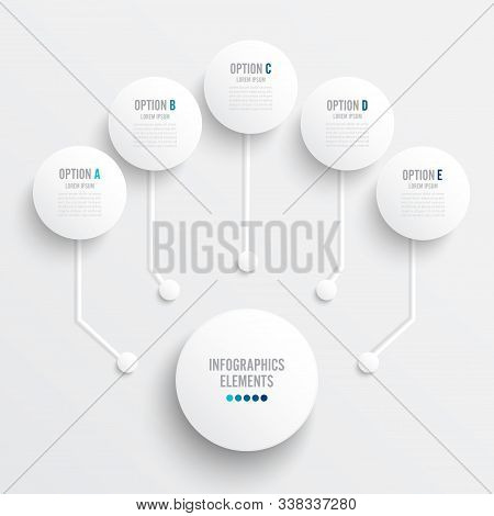 Vector Infographic Template With 3d Paper Label, Integrated Circles. Business Concept With Five Opti
