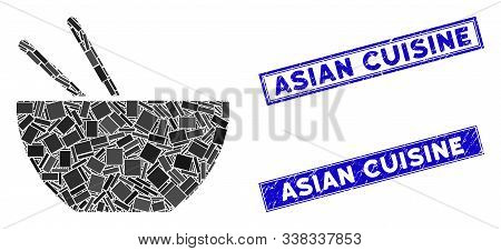 Mosaic Asian Food Icon And Rectangle Asian Cuisine Rubber Prints. Flat Vector Asian Food Mosaic Pict