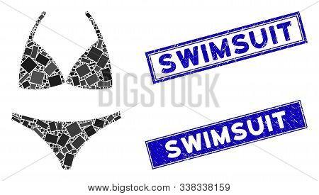 Mosaic Bikini Pictogram And Rectangle Swimsuit Seal Stamps. Flat Vector Bikini Mosaic Pictogram Of R