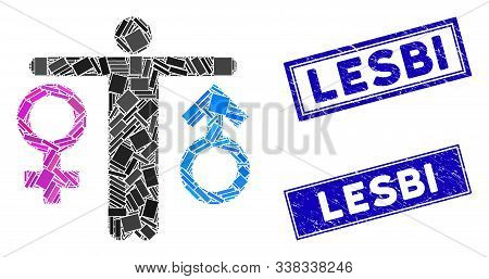 Mosaic Bisexual Man Pictogram And Rectangle Lesbi Rubber Prints. Flat Vector Bisexual Man Mosaic Pic