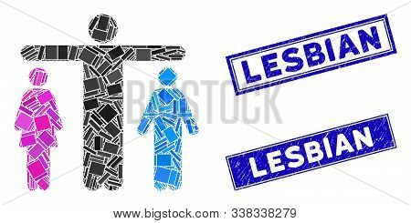 Mosaic Bisexual Person Icon And Rectangular Lesbian Seal Stamps. Flat Vector Bisexual Person Mosaic