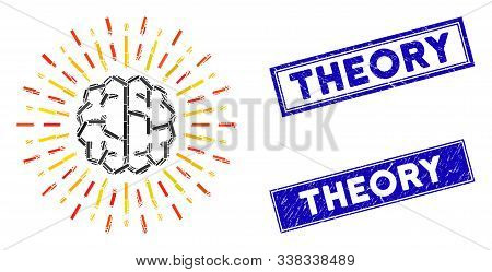 Mosaic Brain Radiance Pictogram And Rectangle Theory Stamps. Flat Vector Brain Radiance Mosaic Picto