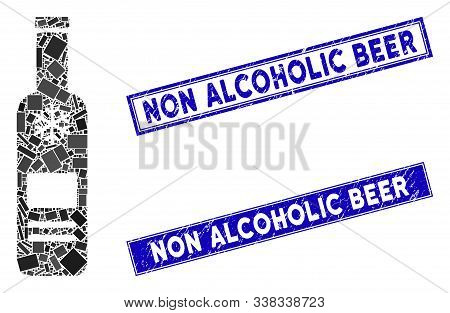 Mosaic Cold Vodka Bottle Pictogram And Rectangle Non Alcoholic Beer Seal Stamps. Flat Vector Cold Vo