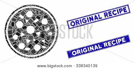 Mosaic Entire Pizza Icon And Rectangle Original Recipe Watermarks. Flat Vector Entire Pizza Mosaic I