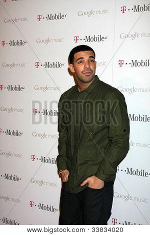 LOS ANGELES - NOV 16:  Drake arrives at the Google Music Launch at Mr. Brainwash Studio on November 16, 2011 in Los Angeles, CA