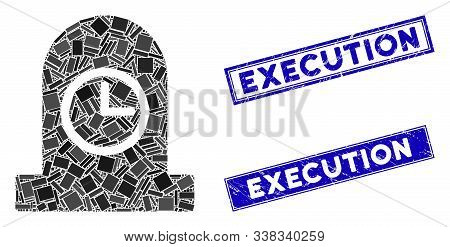 Mosaic Expired Grave Icon And Rectangular Execution Rubber Prints. Flat Vector Expired Grave Mosaic