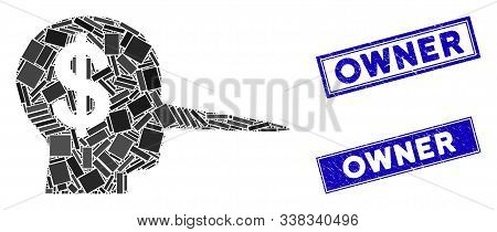 Mosaic Financial Scammer Icon And Rectangle Owner Seal Stamps. Flat Vector Financial Scammer Mosaic