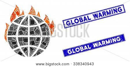 Mosaic Global Warming Fire Icon And Rectangular Global Warming Seals. Flat Vector Global Warming Fir