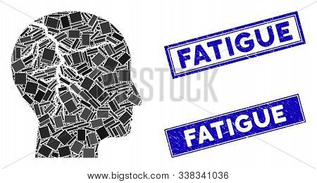 Mosaic Head Cancer Pictogram And Rectangle Fatigue Seal Stamps. Flat Vector Head Cancer Mosaic Picto