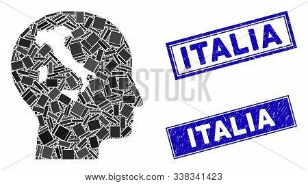 Mosaic Italian Thinking Pictogram And Rectangular Italia Seal Stamps. Flat Vector Italian Thinking M