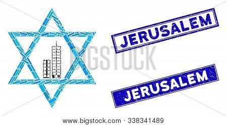 Mosaic Jerusalem Star Icon And Rectangular Jerusalem Seals. Flat Vector Jerusalem Star Mosaic Icon O