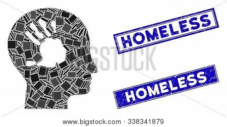 Mosaic Mental Imprinting Icon And Rectangular Homeless Seals. Flat Vector Mental Imprinting Mosaic I
