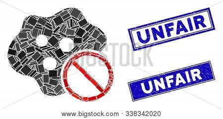 Mosaic No Infection Icon And Rectangle Unfair Seal Stamps. Flat Vector No Infection Mosaic Icon Of R