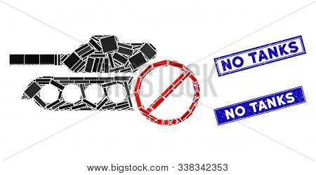 Mosaic No Tanks Pictogram And Rectangular No Tanks Seal Stamps. Flat Vector No Tanks Mosaic Pictogra