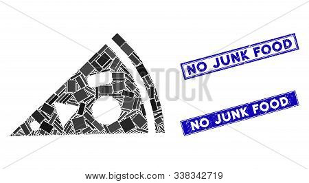 Mosaic Pizza Piece Icon And Rectangle No Junk Food Stamps. Flat Vector Pizza Piece Mosaic Icon Of Ra