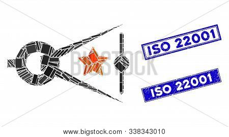 Mosaic Quality Inspection Icon And Rectangular Iso 22001 Seal Stamps. Flat Vector Quality Inspection