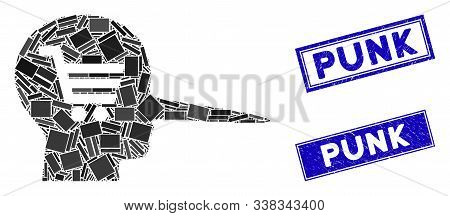 Mosaic Shopping Scammer Icon And Rectangular Punk Seal Stamps. Flat Vector Shopping Scammer Mosaic I
