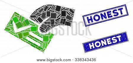Mosaic Smart Vote Pictogram And Rectangular Honest Rubber Prints. Flat Vector Smart Vote Mosaic Pict