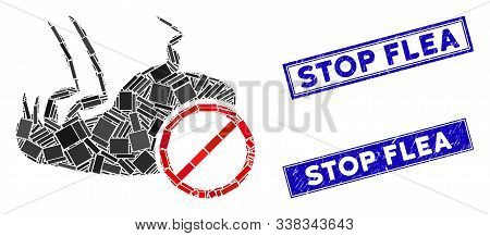 Mosaic Stop Flea Pictogram And Rectangle Stop Flea Seal Stamps. Flat Vector Stop Flea Mosaic Pictogr