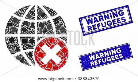 Mosaic Stop Globalization Icon And Rectangle Warning Refugees Seals. Flat Vector Stop Globalization