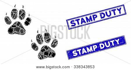 Mosaic Tiger Footprints Icon And Rectangle Stamp Duty Rubber Prints. Flat Vector Tiger Footprints Mo