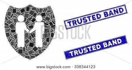 Mosaic Trust Shield Icon And Rectangular Trusted Band Seals. Flat Vector Trust Shield Mosaic Icon Of
