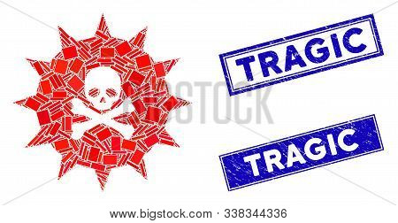 Mosaic viral toxin pictogram and rectangular Tragic stamps. Flat vector viral toxin mosaic pictogram of randomized rotated rectangular items. Blue Tragic stamps with distress surface. poster