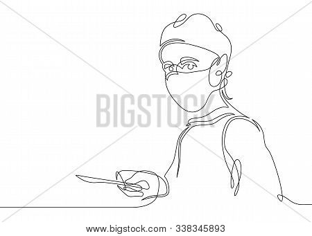 A Continuous One-line Hand-drawn Concept Image Of A Doctor, A Surgeon In A Medical Suit.