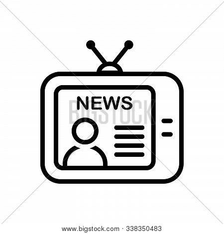 Black Line Icon For News Broadcast Newsreader Tv Television