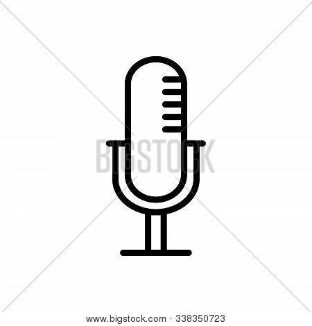 Black Line Icon For Mike Announcement Radio Speech