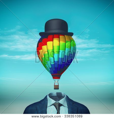 Headless Business Suit With An Hot Air Balloon Above.this Is A 3d Render Illustration.