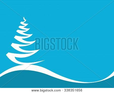 Christmas Background With Tree And Blue Background