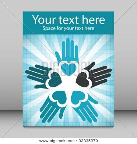 Colorful united loving hands leaflet design.