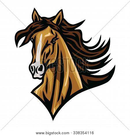 Horse Mustang Head Logo Cartoon Vector Esport Mascot Design Illustration