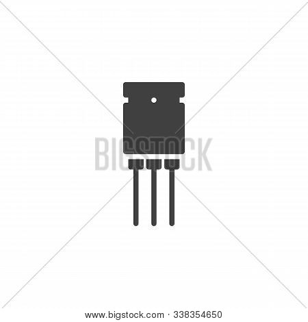 Electronic Transistor Vector Icon. Filled Flat Sign For Mobile Concept And Web Design. Semiconductor
