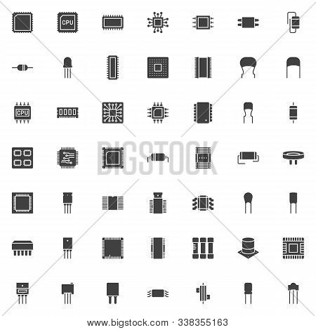 Computer Components Vector Icons Set, Cpu Chip Modern Solid Symbol Collection, Filled Style Pictogra
