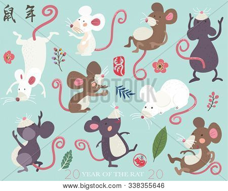 Cute Mouse New Year 2020. Year Of The Rat Greeting Design Set. Chinese Calligraphy translation