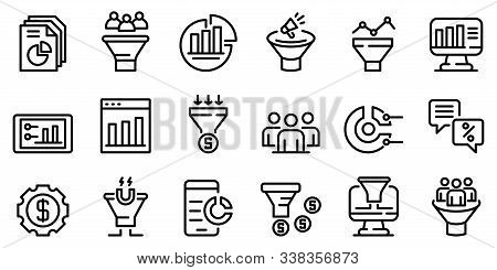 Conversion Rate Icons Set. Outline Set Of Conversion Rate Vector Icons For Web Design Isolated On Wh